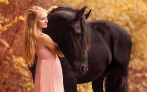 ragazza, raven, cavallo, cavallo, vestire, stato d'animo