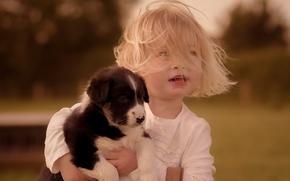 девочка, собака, щенок, друзья, дружба, волосы