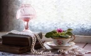 бусы, жемчуг, украшения, книги, лампа, цветок, сенполия, фиалка, чашка, винтаж, натюрморт