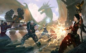 The_witcher_battle_arena, dragon, sorcerers, monsters, magic, girl, battle