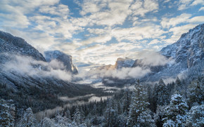 Yosemite National Park, California, Sierra Nevada, Yosemite National Park, Yosemite, California, Sierra Nevada, Mountains, valley, winter, forest, clouds