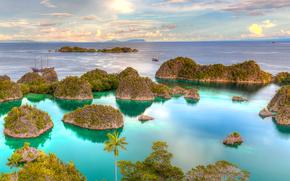 mar, Islas, Palms, barcos, Penemu, Indonesia