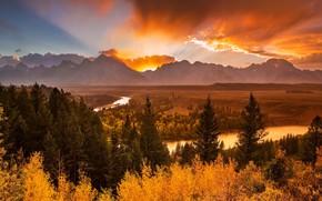 Rivière Overlook, Parc national de Grand Teton, coucher du soleil, Montagnes, rivière, forêt, arbres, automne, paysage