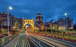Pittsburgh, ville, pont, nuit, lumières
