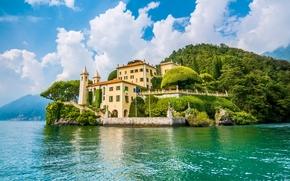 Lenno, Lombardy, Italy, Lake Como, Ленно, Ломбардия, Италия, озеро Комо, остров, здание