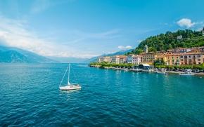 Bellagio, Lombardy, Italy, Lake Como, Белладжо, Ломбардия, Италия, озеро Комо, озеро, горы, яхта, здания, набережная