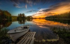 Norway, Рингерике, Ringerike, Норвегия, Aklangen, озеро, закат, лодка, деревья, отражение