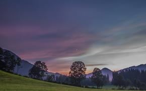 Kitzbuhel, Tyrol, Austria, Alps, Кицбюэль, Тироль, Австрия, Альпы, вечер, горы, деревья, луг, небо