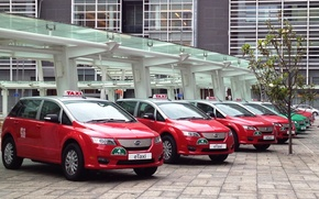 Electric, red, machine, taxi, BID, BYD, BYD Auto, Build Your Dreams, China, building, Technology