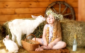 девочка, животные, коза, козлёнок, кролик, венок, сено, колесо, корзина, сушки, молоко, бутылочка, настроение