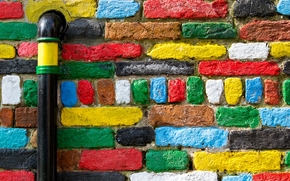 wall, Bricks, Multicolored, PIPE
