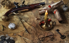 pistole, cards, candle, glasses, watch, compasses, key, compass, coins