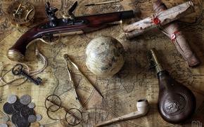 pistole, cards, globe, compasses, bottle, coins, tube, glasses, compass, key