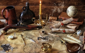 pistole, cards, globe, compasses, bottle, Books, coins, tube, candle, compass, key