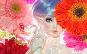 игрушка, кукла, эльф, цветы, герберы