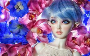 игрушка, кукла, эльф, цветы, орхидеи