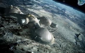 moon, land, space, home, Satellite, planet, excavator, people