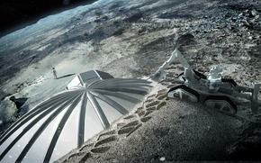 moon, space, home, Satellite, planet, excavator, people