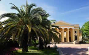 Russia, city, Sochi, Summer Theatre, column, theater, building, Palms, sky