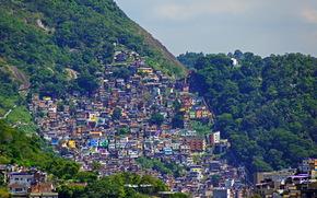 горы, Рио-де-Жанейро, дома, город, Бразилия, фото