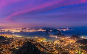 огни, дома, горы, море, здания, вечер, Рио-де-Жанейро, побережье, Бразилия