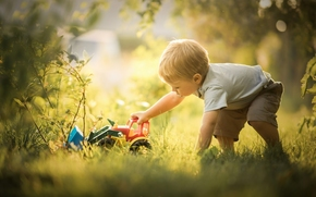 мальчик, игрушка, бульдозер, игра