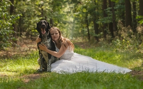 girl, dog, Friends, friendship, dress, forest