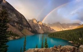 Moraine Lake, Valley of the Ten Peaks, Banff National Park, Alberta, Canada, Озеро Морейн, долина Десяти пиков, Банф, Канада, озеро, горы, радуга, лес