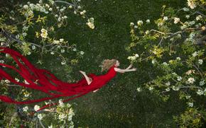 девушка, красное платье, платье, сад, деревья, цветение, весна, полёт, настроение