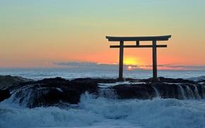 Japan, sea, surf, sunset, gate, Torii