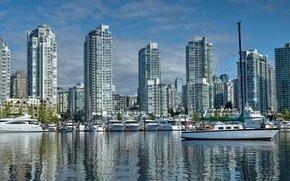 False Creek, Yaletown, Vancouver, British Columbia, Canada, Vancouver, British Columbia, Canada, port, Yacht, boats, embankment, building