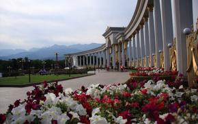 Kazakhstan, città, Alma-Ata, colonna, Fiori, Montagne, cielo
