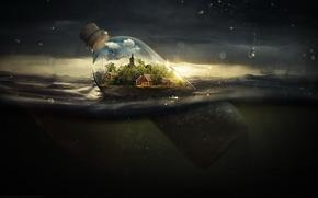 юмор, прикол, бутылка, закат, дома, вода, море, солнце, свет