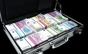 dinero, euros, billetes, proyecto de ley, nota, empacar, packs, moneda, maleta, caso, diplomático