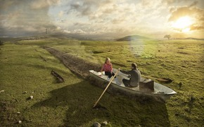 funny, humor, boat, paddles, man, woman, couple, romance, field, grass, sun
