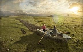 прикол, юмор, лодка, вёсла, мужчина, женщина, пара, романтика, поле, трава, солнце