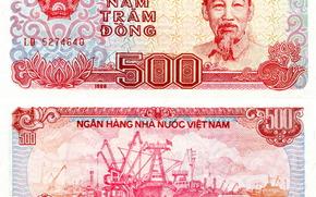 dinero, dong, proyecto de ley, nota, Vietnam, Ciudad De Ho Chi Minh, escudo de armas, krabl, puerto, transporte, 1988, 500