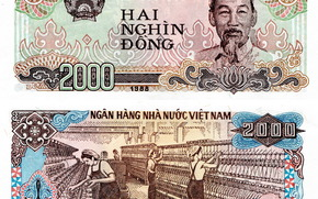money, dong, bill, note, Vietnam, Ho Chi Minh City, coat of arms, 1988, 2000