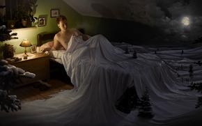 cama, sonho, humor, noite, engra?ado, lua, inverno, neve, abeto, l?mpada, mujique, homem
