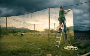 funny, humor, ladder, lestitsa, wallpaper, muzhik, man, man
