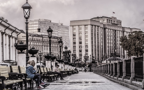 bench, people, lantern, building, road, city, Russia, Moscow, parliament, The State Duma, thought