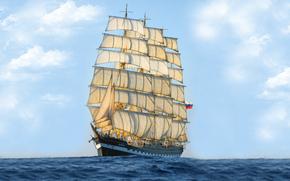 spedire, serbatoio, nave a vela, pesce vela, brigantino a palo, Kruzenshtern, naso, Russia, mare, bandiera, vela, cielo