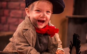 мальчик, трубочист, кепка, радость, настроение