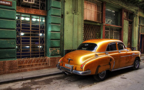 car, Chevrolet, retro, street, home, windows, Cuba, Havana