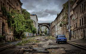 città, rovine, stradale, costruzione, Lada, Car, Odessa, Ucraina, LADA