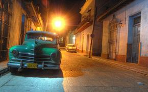 ретро, машина, автомобиль, Куба, старый, Гавана, улица, ночь