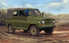 Пёсик, советский, УАЗ, армейский, УАЗ-469, внедорожник, автомобиль, машина, колонна, рисунок, СССР, Россия