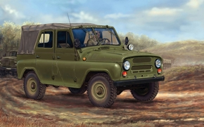 UAZ-469, vas, doggie, Soviet, army, SUV, car, machine, column, drawing, ussr, Russia