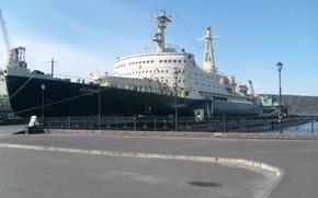 statek, lodołamacz, lenin, zsrr, Rosja, cumować, nabrzeże, Brzeg, latarnia, asfalt