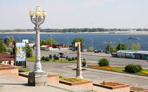 Russia, Volgograd, river, Volga, lantern, road
